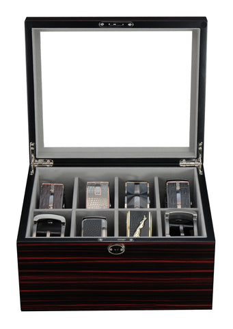 8 Piece Ebony Wood Belt and Accessories Case Storage Box