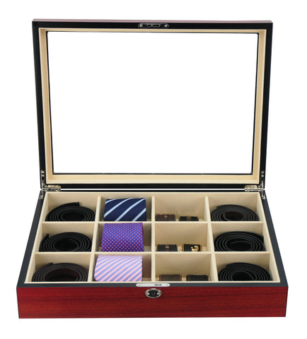 12 Piece Ties, Belts, and Accessories Cherry Wood Display Case Storage Box