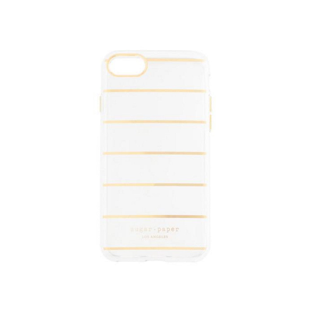 official photos c0948 cdf95 Sugar Paper Cell Phone Case for iPhone 7 - Stripe Metallic Gold / Clear