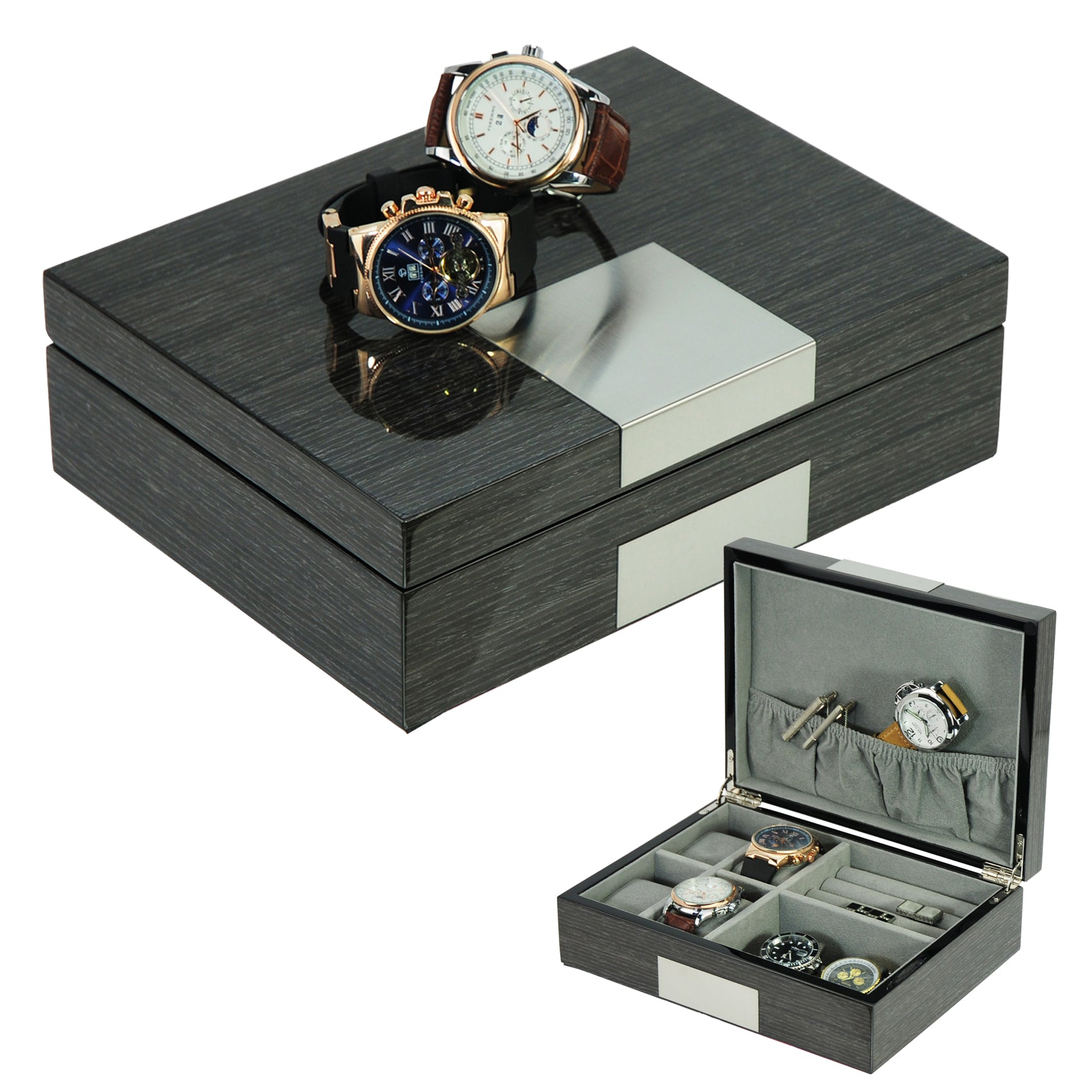c765ac869 Grey Ginko Lacquered Wood 4 Piece Watch Cufflink Case & Ring Storage O –  Timely Buys