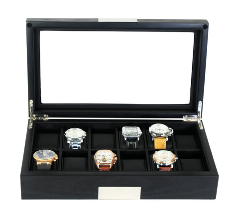 12 Piece Black Ebony Wood Watch Display Case and Storage Organizer Box with Stainless Steel Accents