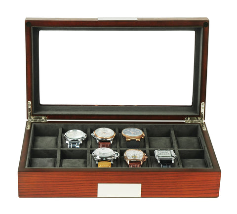 12 Piece Cherry Wood Watch Display Case and Storage Organizer Box with Stainless Steel Accents