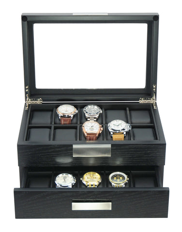 20 Black Ebony Wood Watch Box Display Case and Drawer Storage Jewelry Organizer with Glass Top