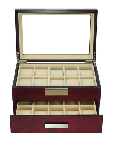 20 Cherry Wood Watch Box Display Case and Drawer Storage Jewelry Organizer with Glass Top