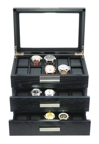 30-Piece Black Ebony Wood Watch Display Case and 3 Drawer Storage Organizer Box