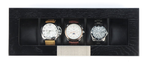 5 Piece Black Wood Watch Display Case Storage Organizer Box with Stainless Steel Accents