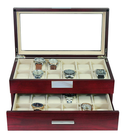 24 Oversized Extra Large Cherry Wood Watch Box Display Case 2 Level Storage Jewelry Organizer with Glass Top for Luxury Big Face Watches