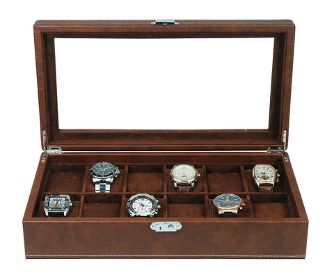 12 Piece Distressed Brown Leatherette Big Face Watch Display Case and Storage Organizer Box