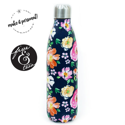 Mary Square Stainless Steel Water Bottle- Vintage Floral