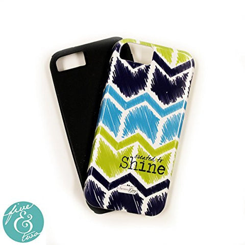 "ScriptureArt ""Created to Shine"" Iphone 5 Cover - Blue Green and White Chevron"