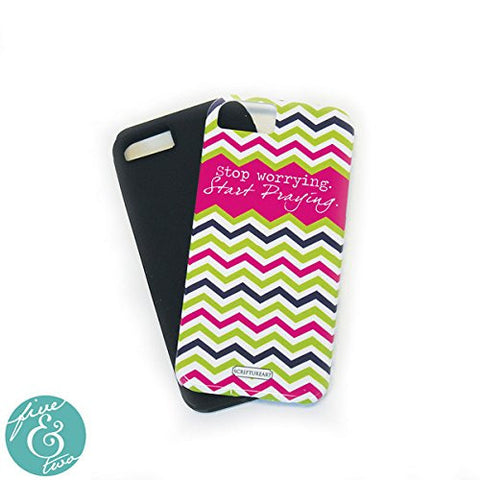 "ScriptureArt ""Stop Worrying Start Praying"" Iphone 5 Cover - Pink/ navy/ green /white chevron"