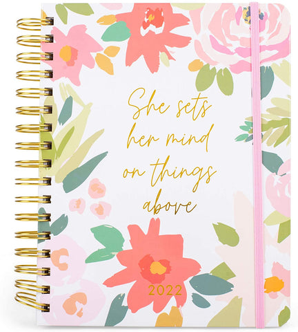 Mary Square 2022 Blush Floral 18 Month Agenda July 2021 - December 2022
