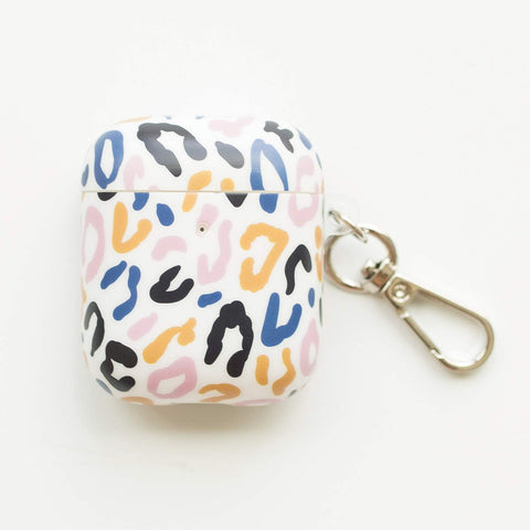 Mary Square Case for AirPods with Keychain - Leopard Print