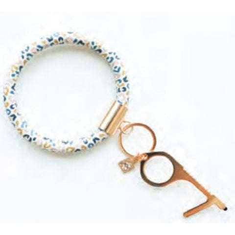 Mary Square Clean Key Bracelet - Multi Leopard