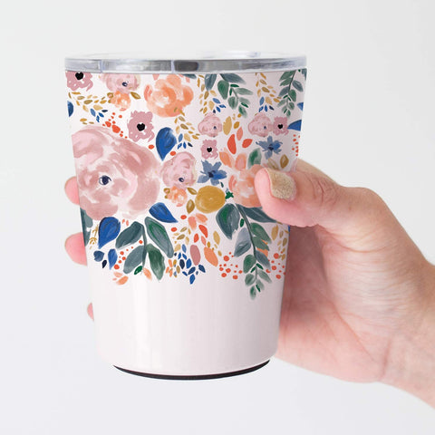 Mary Square 12 oz Stainless Coffee Tumbler With Lid - Autumn Blossom