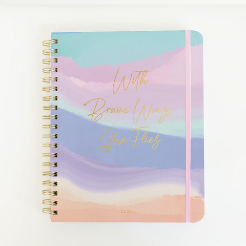 Mary Square 2021 Spiral Daily Planner - With Brave Wings