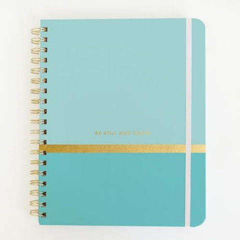 Mary Square Aqua Prayer Journal - Be Still and Know