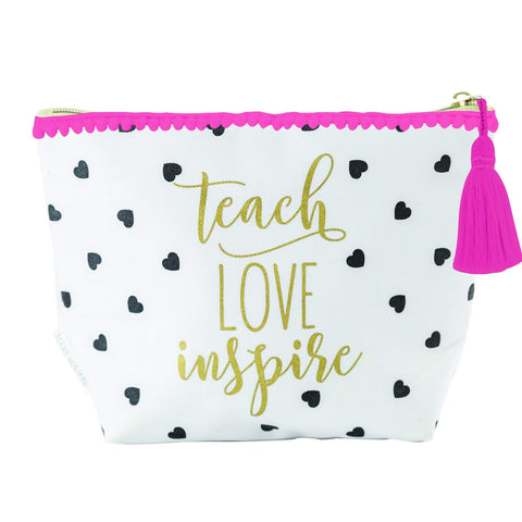 Mary Square Canvas Zippered Carryall Cosmetic Pouch - Teach Love Inspire