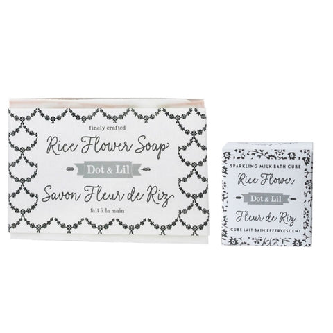 Dot & Lil Set (1) Sparkling Milk Bath Cube and (1) Soap in Signature Scent - Rice Flower