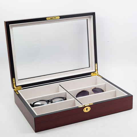 6 Eyeglass Cherry Wood Storage Display Case for Oversized Glasses and Sunglasses