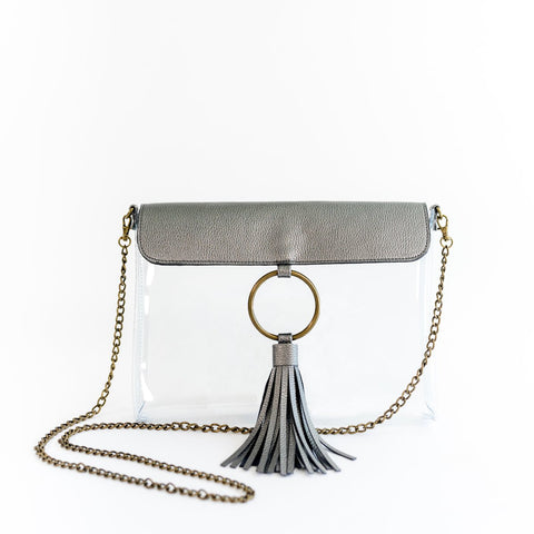 MB Greene Designer Clear Stadium Approved Pewter Purse Cross Body Bag with Tassel and Chain for Concerts and Sporting Events