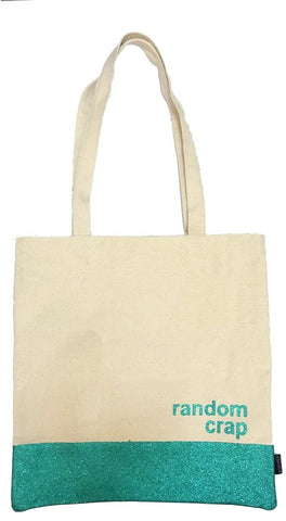 Miamica Cream/Teal Tote Bag - Random Crap