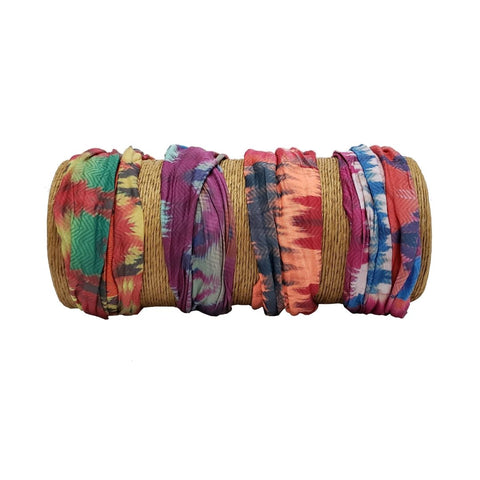 "Bamboo Trading Company Boho Wide Headbands - Tie Dye Print Headwraps - 16""L x 9""W - Blue, Pink, Purple, Yellow"