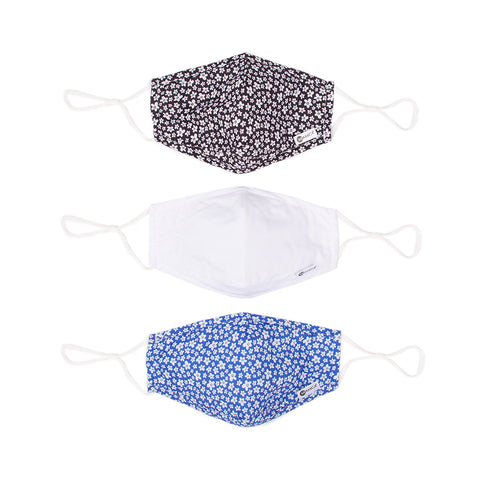 Miamica Set of 3 Fashion Cloth Face Mask - Black and White Floral, Solid White, Blue Floral