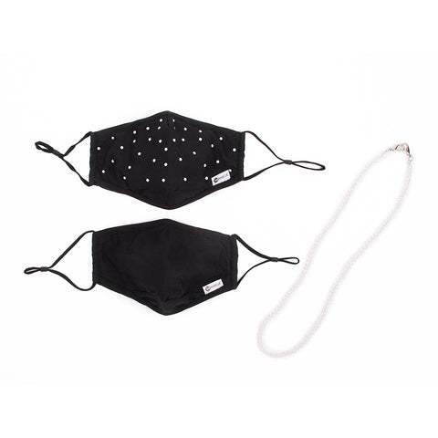 Miamica 3 Pc. Mask and Neck Chain Set - 2 Coordinating Black with Pearls Mask