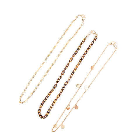 Miamica Set of 3 Face Mask Chain Holder Neck Strap - Gold & Tortoise Shell Design