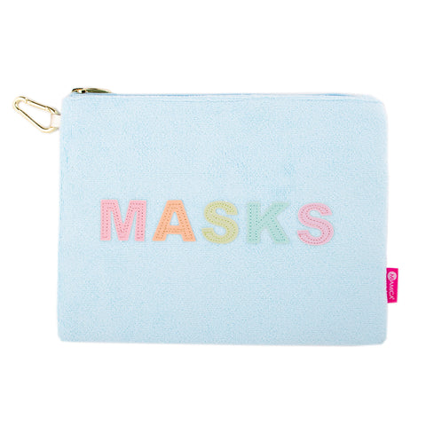 "Miamica Zippered Mask Organizer - Terry Cloth ""MASKS"" Luggage Storage Essential Light Blue with Multi Colored Pastel Lettering for Travel"
