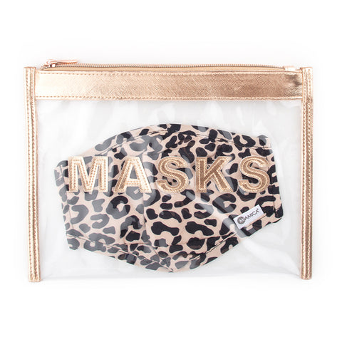 Miamica Two Piece Set - Rose Gold Travel Mask Organizer and Leopard Print Face Mask Cotton Breathable Double Layer Adjustable Ear Strap