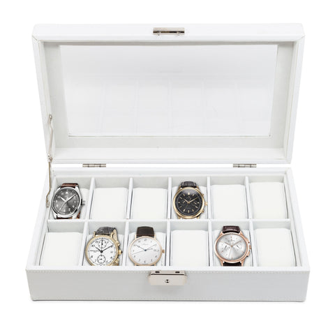 12 Piece White Leatherette Watch Display Case and Storage Organizer Box