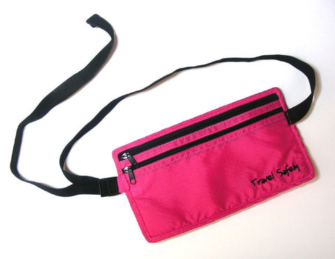 Miamica Waist Security Pouch and Money Belt Travel Safely- Pink