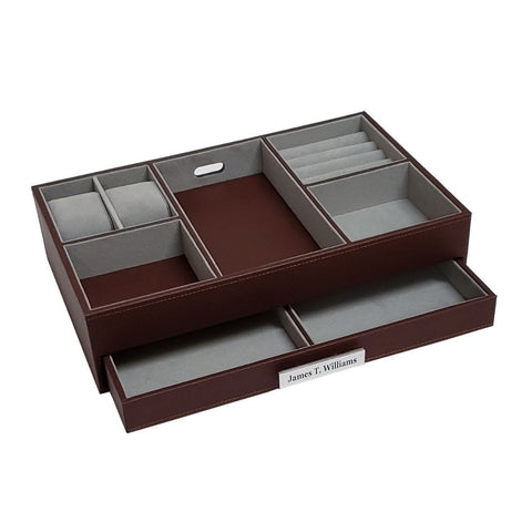 Personalized Brown Leatherette Charging Station Valet Tray Desk Dresser Drawer Coin Case for Keys, Phone, Jewelry, Watches
