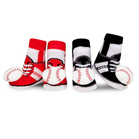 Waddle and Friends Newborn Baby Boys Baseball Rattle Red and Black Socks 0-12M