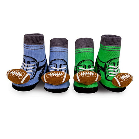 Waddle and Friends Newborn Baby Boy Football Rattle Blue and Green Socks 0-12M
