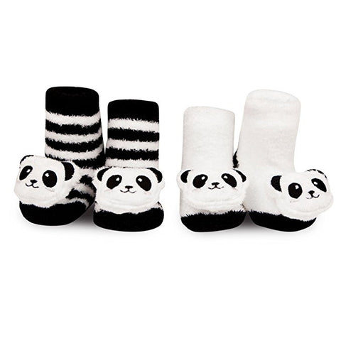 Waddle and Friends Newborn Baby Panda Bear Animal Rattle Socks Black White 0-12M