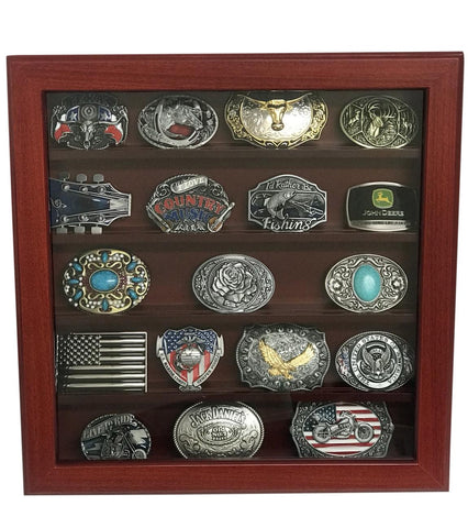 Cherry Wood Wall Belt Buckle Display Case with Five Rows for Collectible Belt Buckles