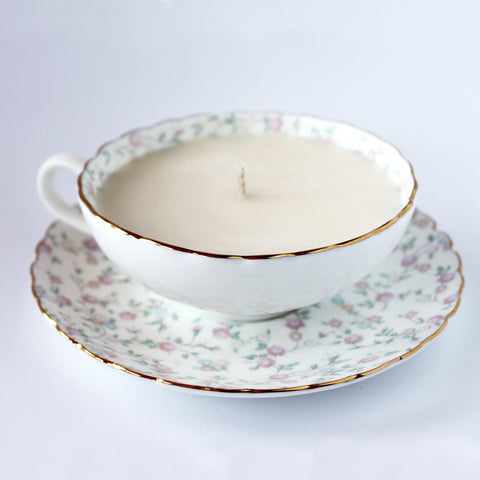 Dot & Lil Teacup Candle Rice Flower Hand Poured with Soy Wax
