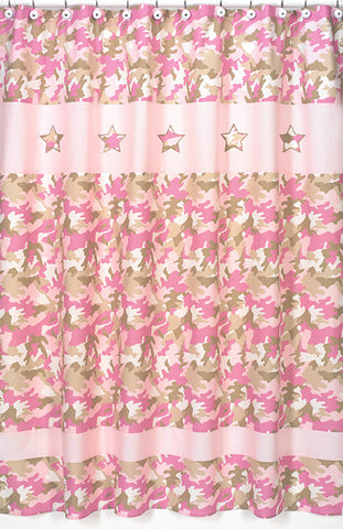 Jojo Designs Shower Curtain- Camo Pink