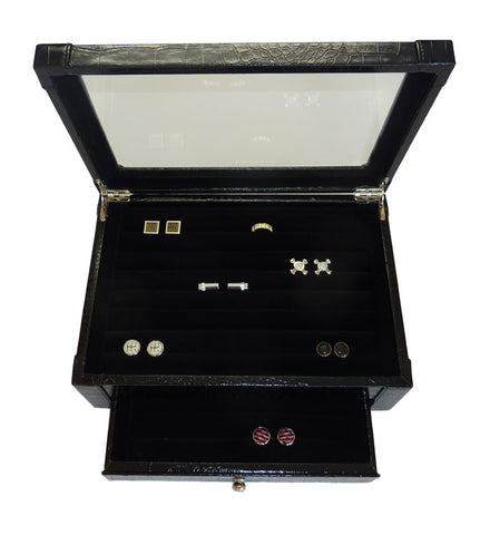 Black Croc  Jewelry Box Cufflink Case & Ring Storage Organizer