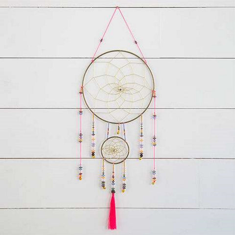 Natural Life Hot Pink Beaded Dream Catcher