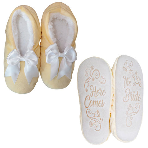 "Faceplant Dreams Slipper Footsies - ""Here Comes The Bride"""