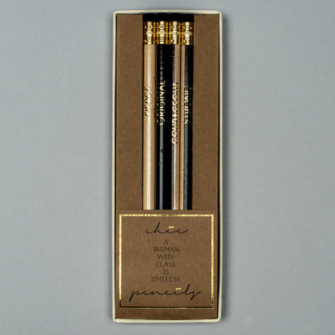 "Karen Adams Set of 4 ""Chic"" Pencils"