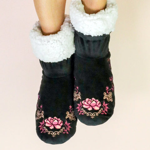 "Faceplant Dreams Black, Pink and White Rose Print Booties - ""Blessed"""