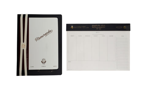 Designworks 3 Piece Set Perpetual Planner, Dot Grid Notebook, and Standard Issue No 52 Weekly Planner Black Wine