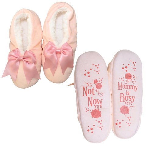 "Faceplant Dreams Slipper Footsies - ""Not Now Mommy is Busy"""