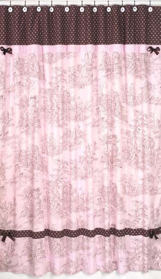 Jojo Designs Shower Curtain Pink Brown Toile French