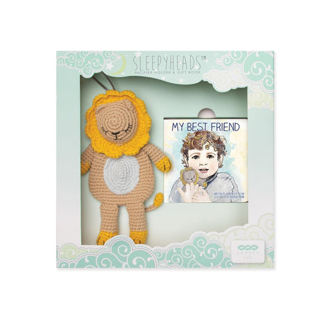 "Banded Sleepyhead Collection Little Lion Sleepyhead Gift Set with Pacifier Holder Toy and""Best Friend"" Board Book"
